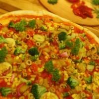 shot sos, kabak, patlıcan, karamelize soğan, yeşil zeytin, brokoli, mısır